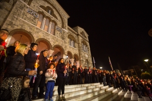 People during celebration of Orthodox Easter