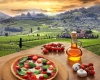 Italian pizza in Chianti, vineyard landscape in Italy