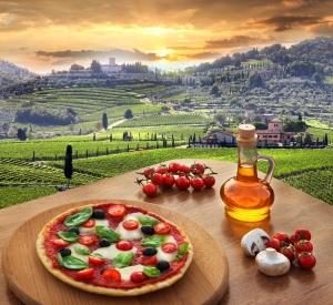 Italian pizza in Chianti, vineyard landscape in Italy