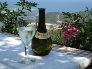 Retsina Bottle with Greek Landscape